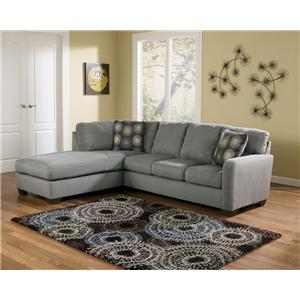 Signature Design by Ashley Zella - Charcoal Sectional Sofa with Left Arm Facing Chaise
