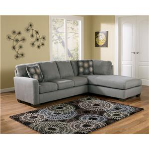 Signature Design by Ashley Zella - Charcoal Sectional Sofa with Right Arm Facing Chaise