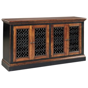 Two-Tone Finish Dining Room Server with Metal Filigree Doors