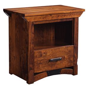 Simply Amish B and O Railroad Nightstand with Opening and Bottom Drawer