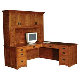 Simply Amish Prairie Mission L-Shape Desk and Hutch