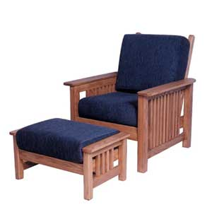 Simply Amish Mission Amish Easy Chair and Ottoman