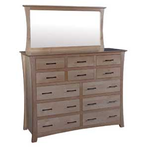 Simply Amish Loft 12-Drawer Bureau and Bureau Mirror