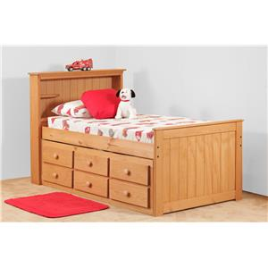 Simply Bunk Beds Pine Twin bookcase captain's bed