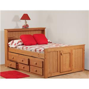 Simply Bunk Beds Pine Full Bookcase Captain's Bed