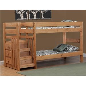Simply Bunk Beds Pine Twin/Twin Staircase Bunk Bed