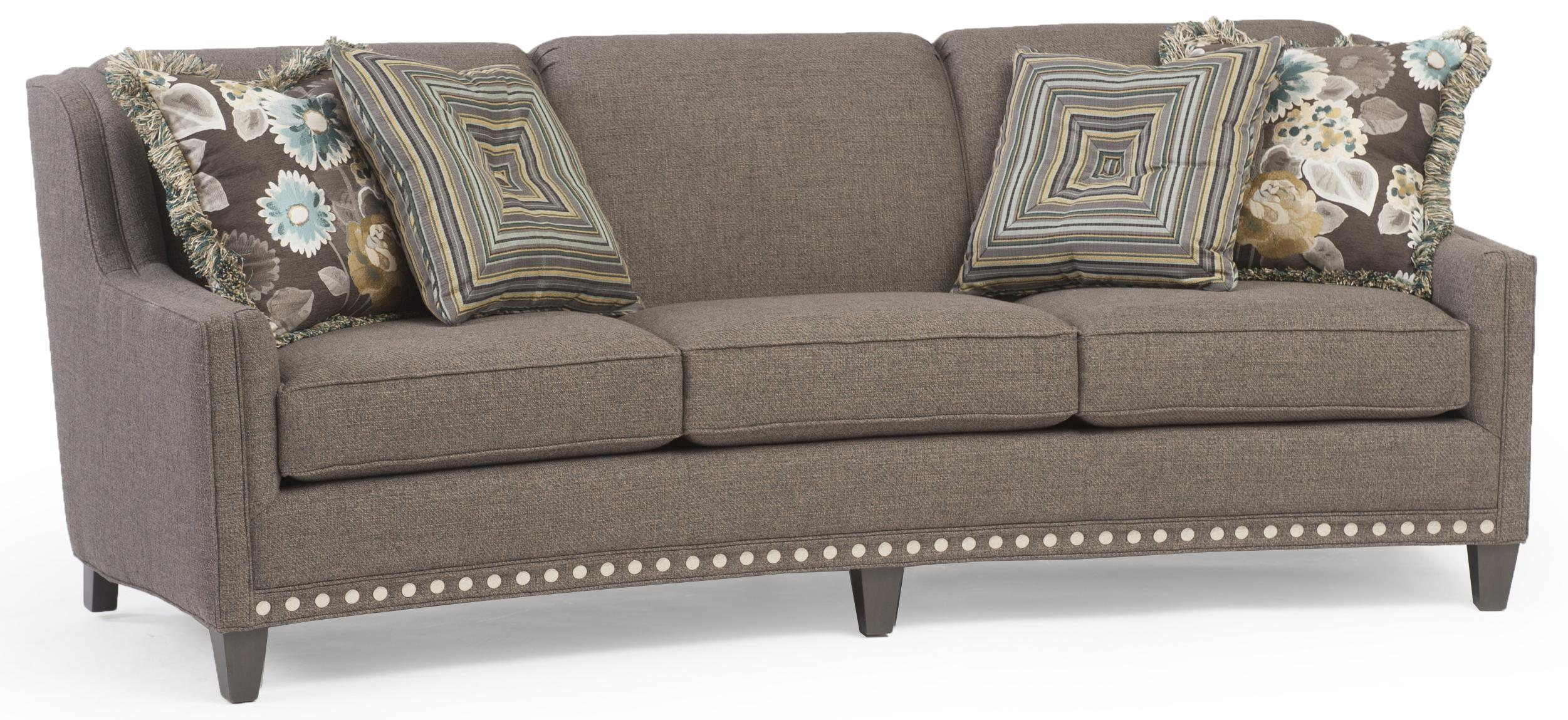 Bon Slightly Curved Sofa With Sloping Track Arms And Nail Head Trim