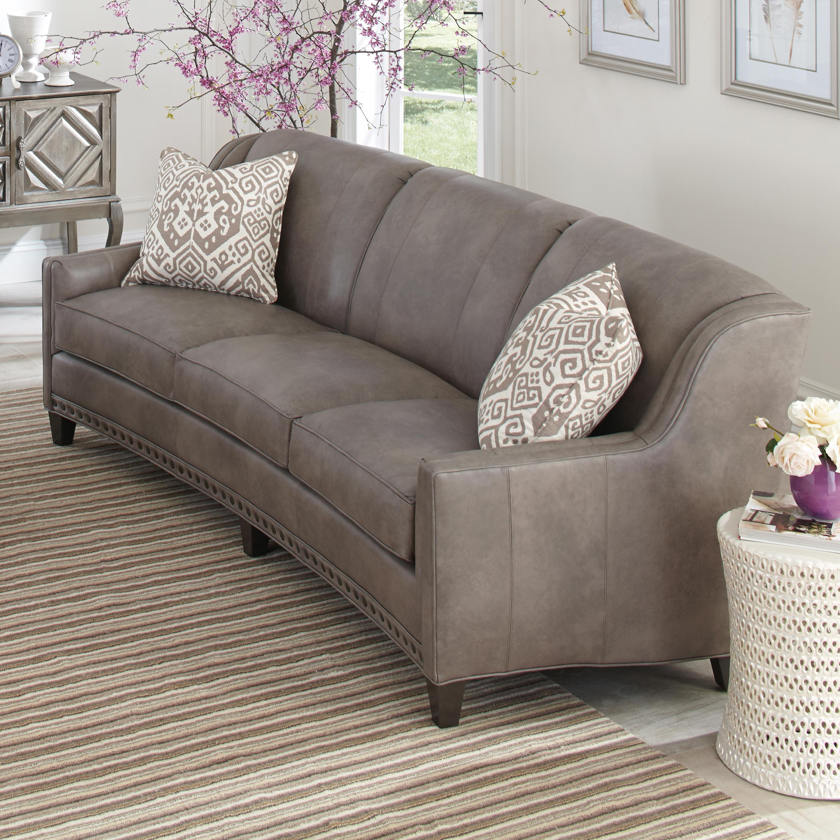Couches Or Sofa: Slightly Curved Sofa With Sloping Track Arms And Nail Head