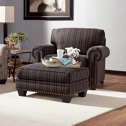 Traditional Chair And Ottoman With Nailhead Trim By Smith