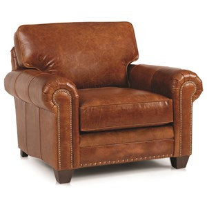 Traditional Stationary Chair with Oversize Rolled Arms