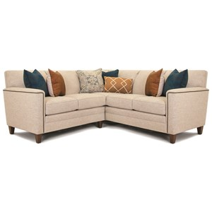 Customizable 2-Piece Sectional with Art Deco Arms, Tapered Legs and Pullover Back