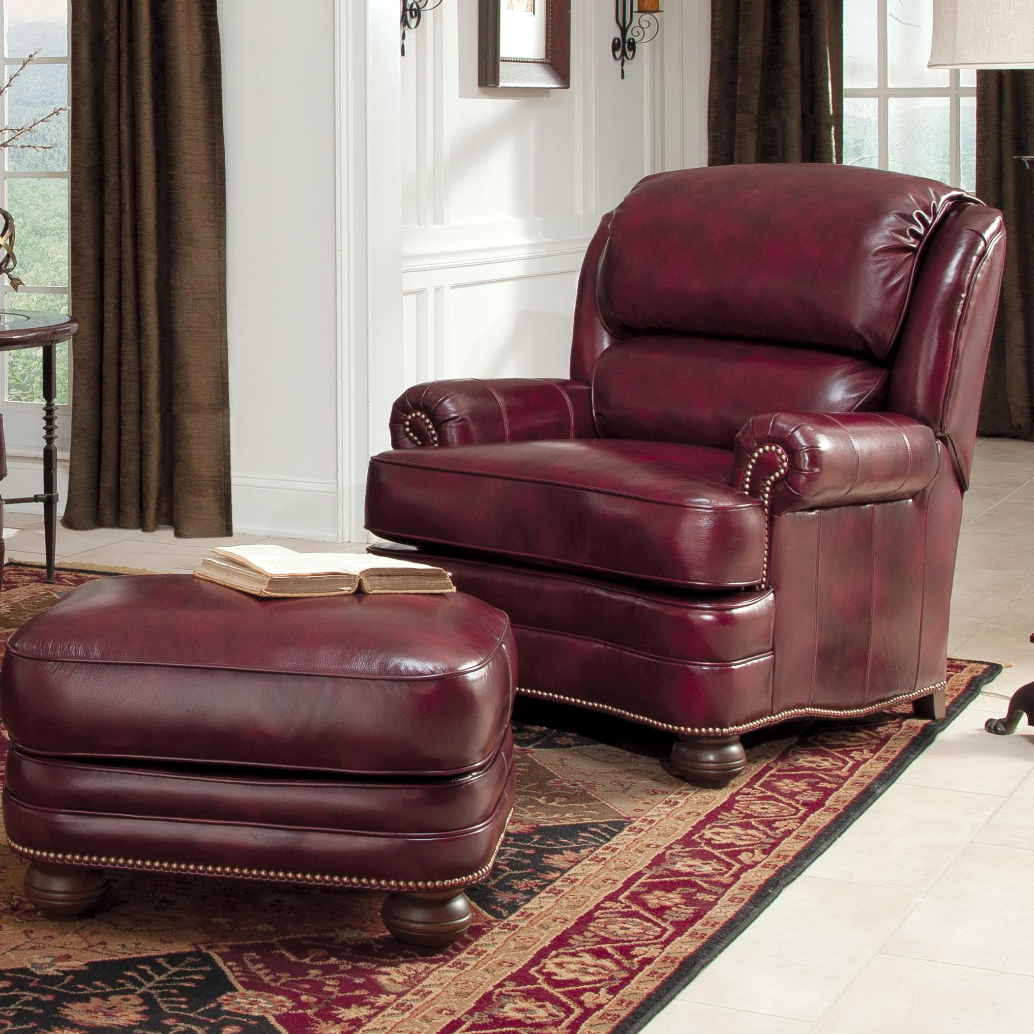 Leather Upholstered Chair And Ottoman By Smith Brothers