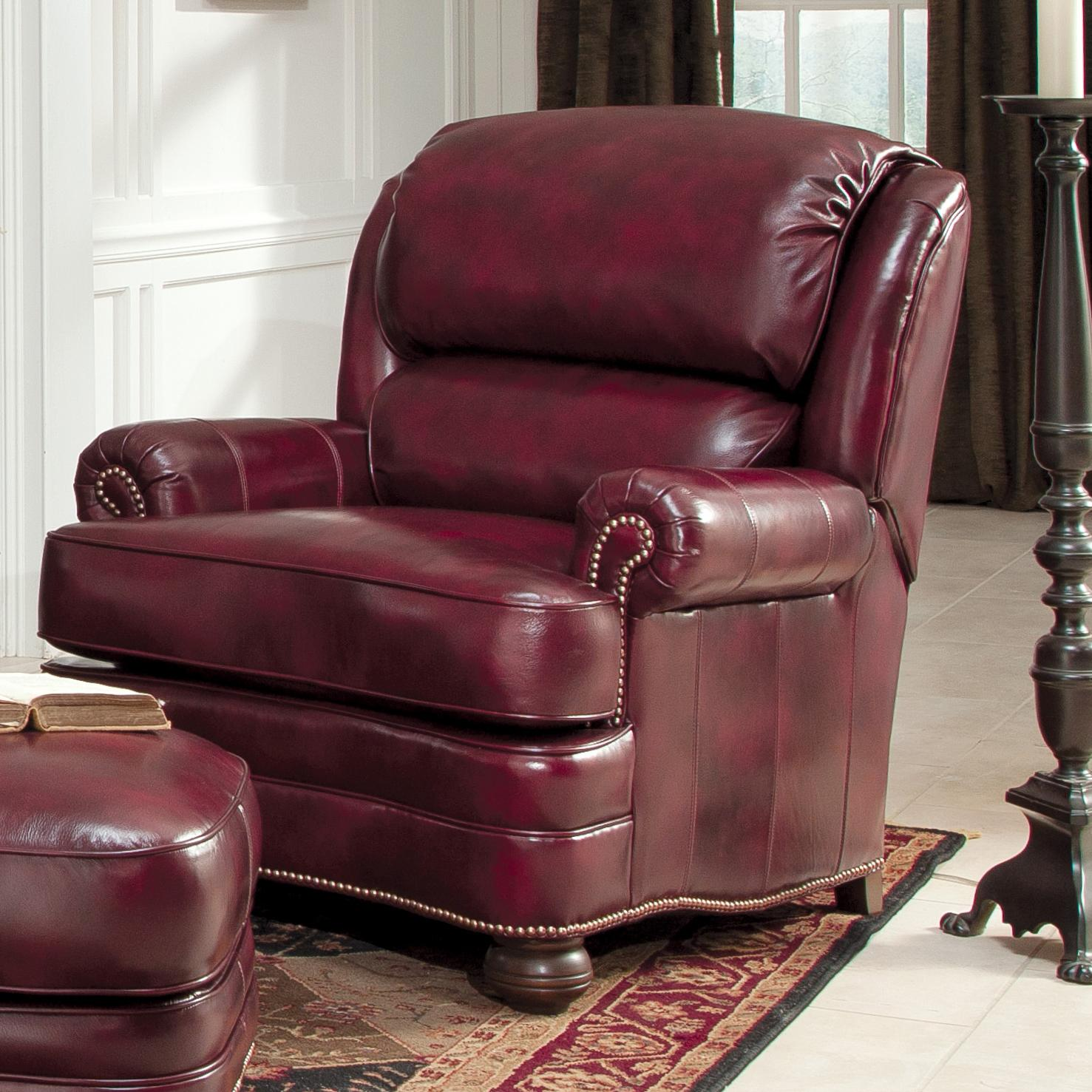 Leather Upholstered Chair and Ottoman by Smith Brothers – Upholstered Chair with Ottoman