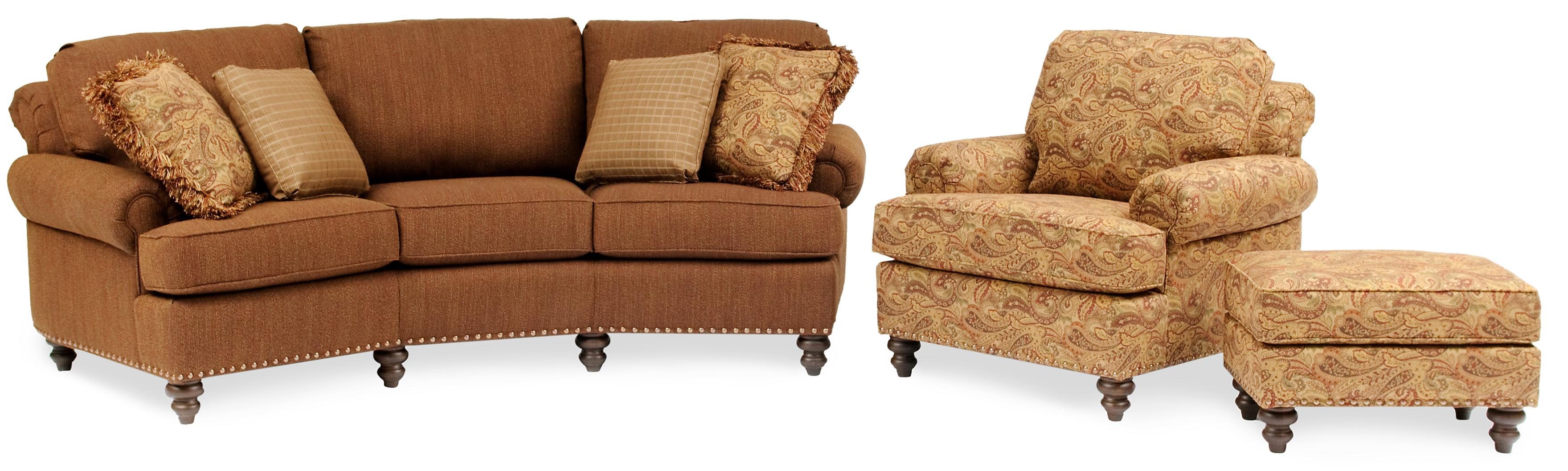 Curved Conversational Sofa With Nailhead Trim. By Smith Brothers