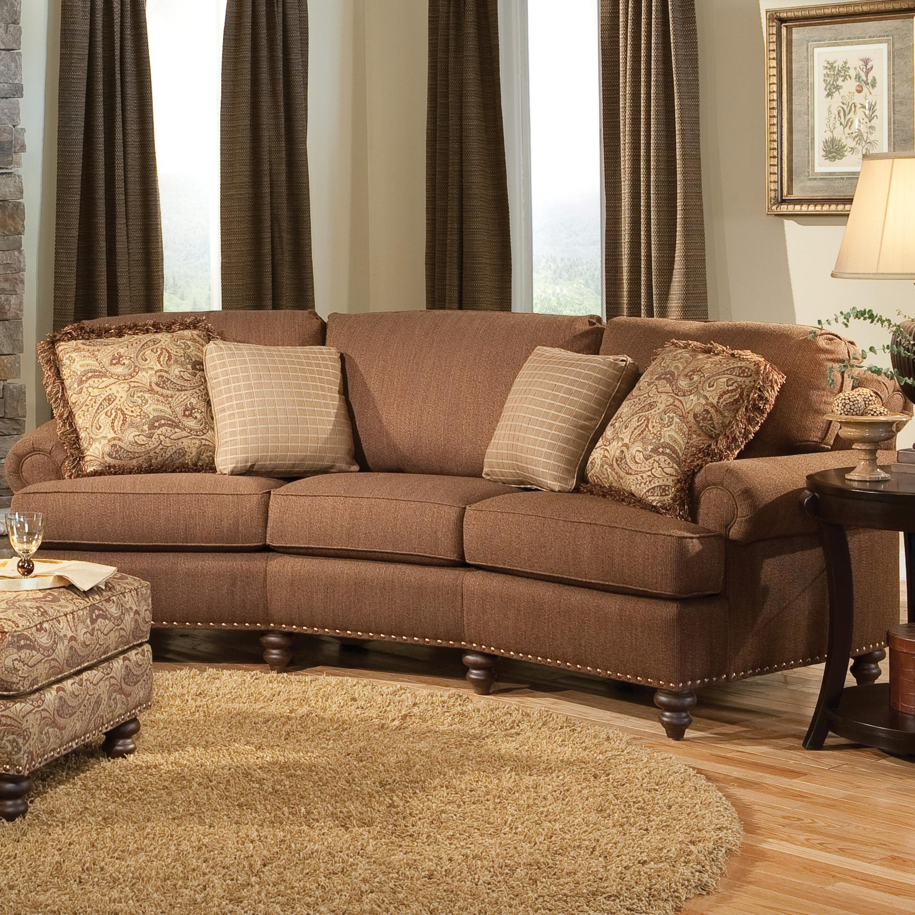 Nice Curved Conversational Sofa With Nailhead Trim