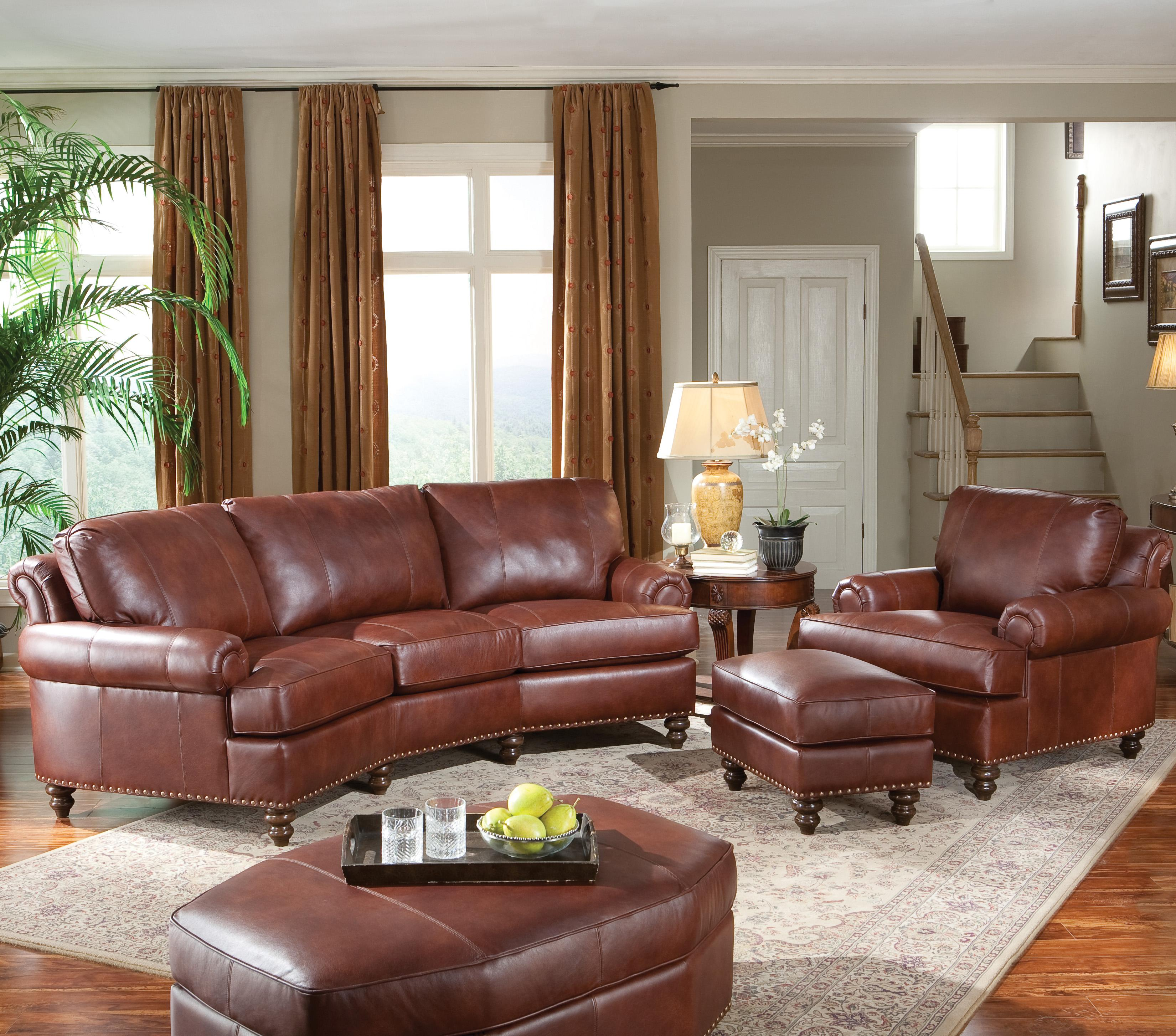 Leather Chair & Ottoman with Nailhead Trim by Smith Brothers