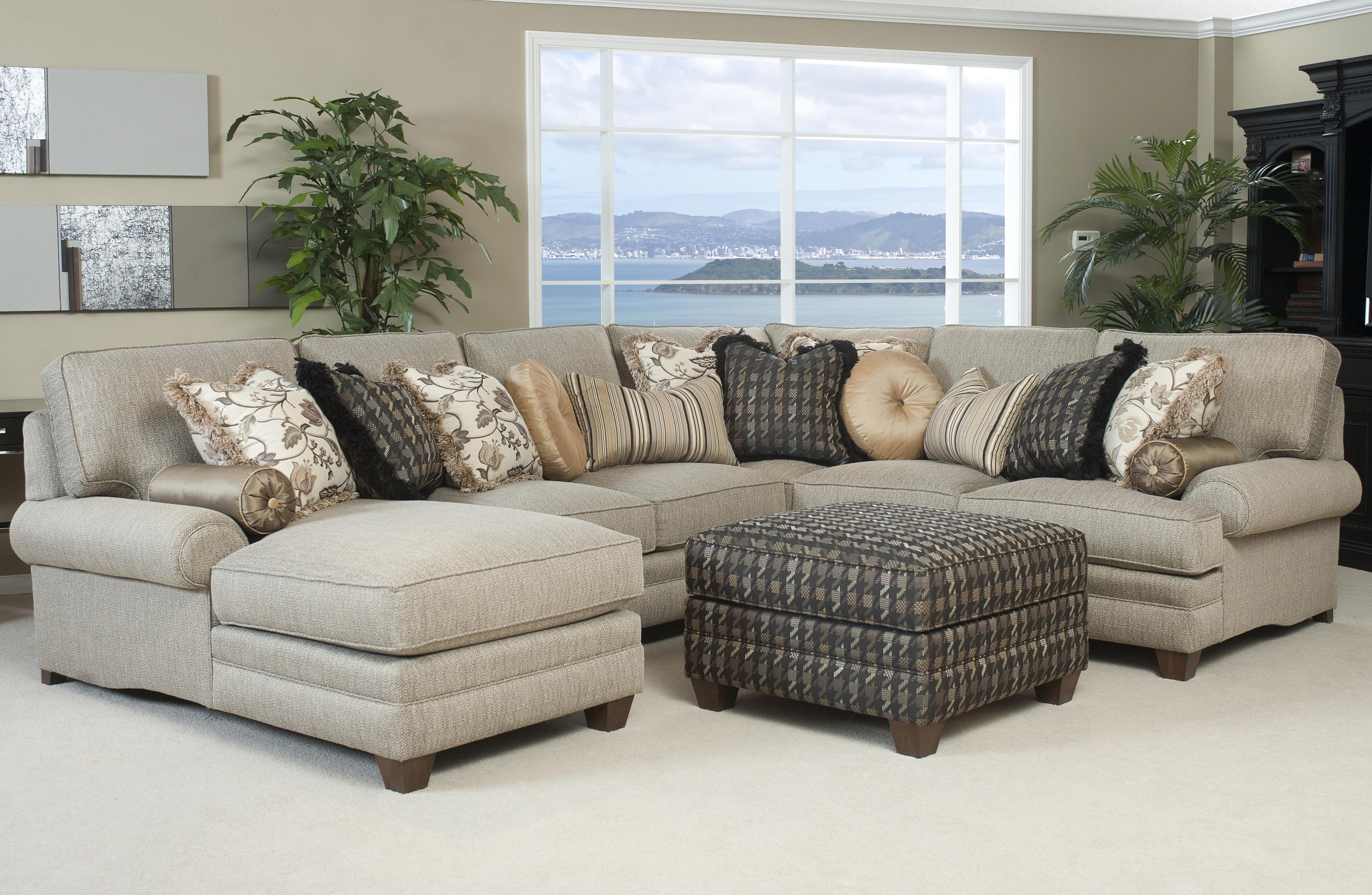 Traditional Styled Sectional Sofa with fortable Pillowed Seat