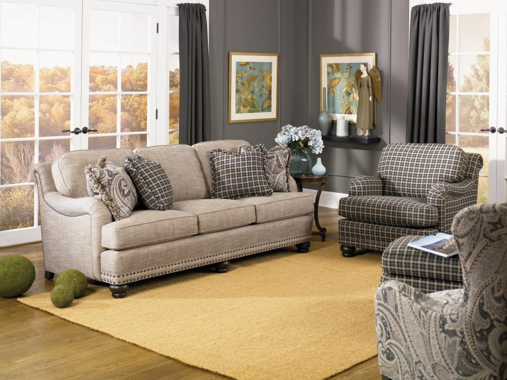 English sofa with rolled back english arms and nail head - Mixing leather and fabric living room ...
