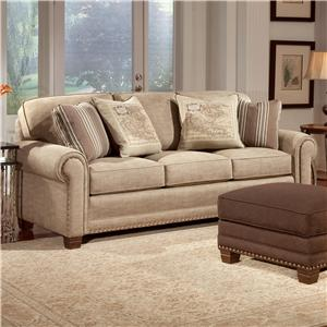 "Smith Brothers 393 110"" long sofa shown on showroom floor"