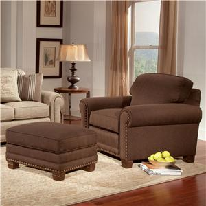 Smith Brothers 393 Traditional Chair and Ottoman