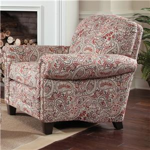 Stationary Upholstered Chair with Rolled Arms and Tapered Wood Block Legs