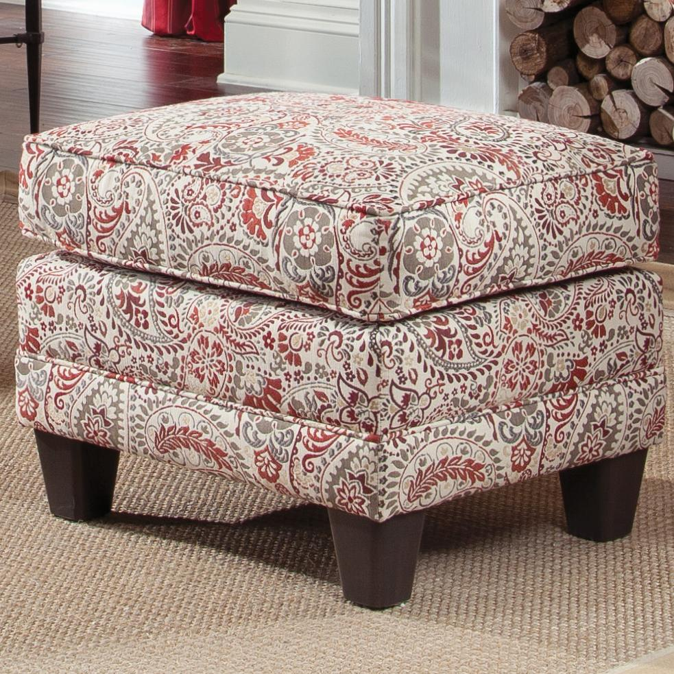 Upholstered Ottoman With Tapered Wood Block Legs By Smith