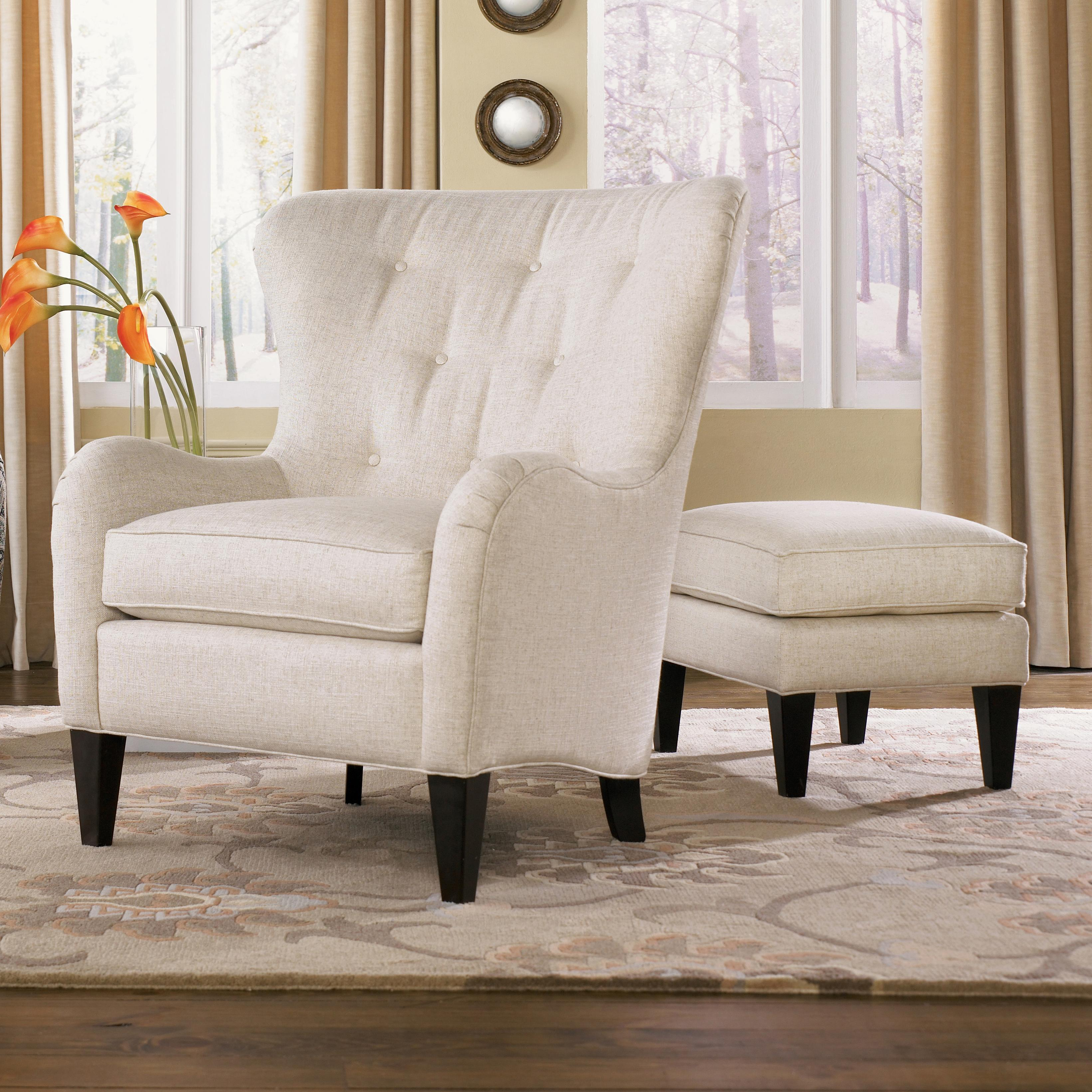 Wing chair with ottoman - Tufted Wing Back Chair With Ottoman
