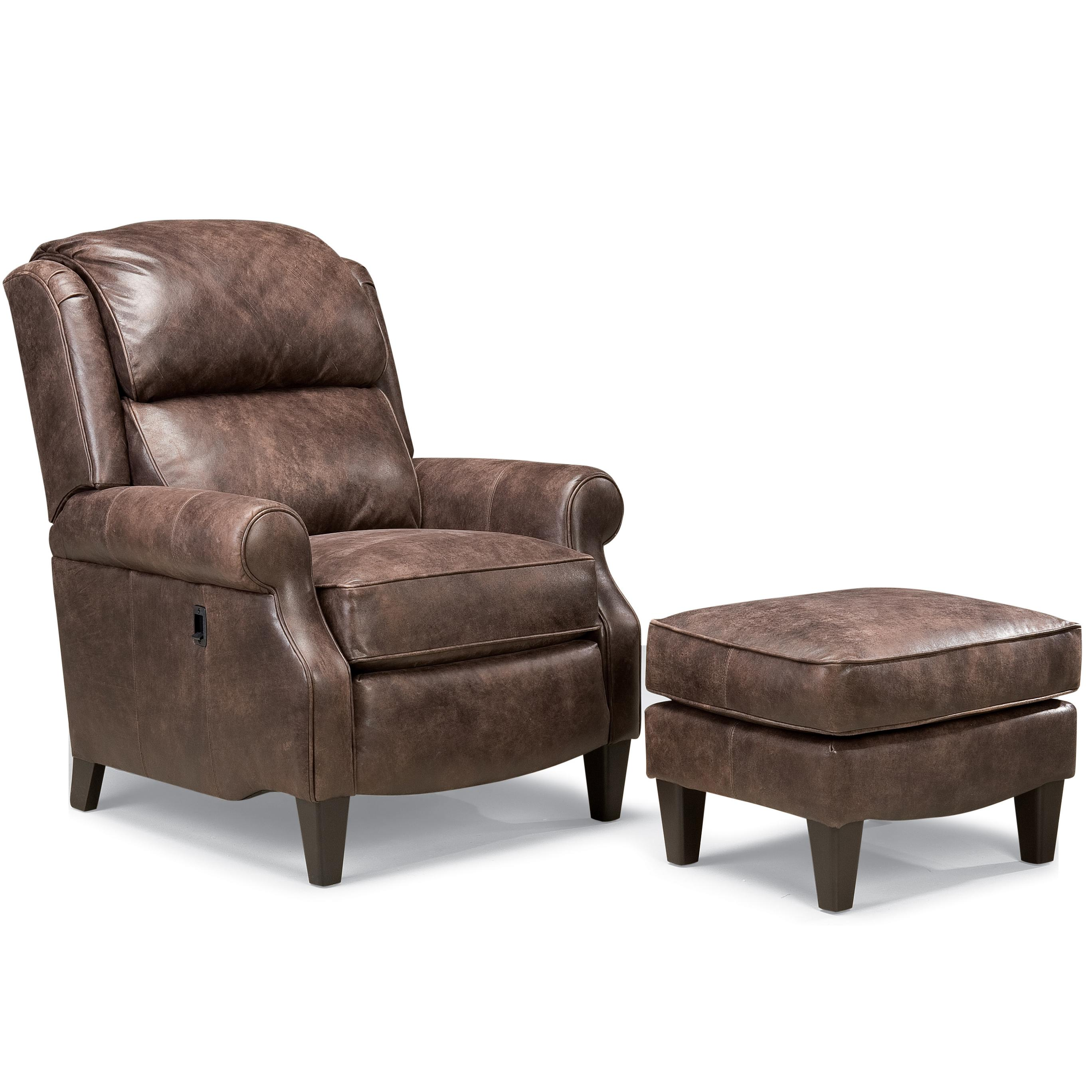 Traditional Leather Big And Tall Pressback Reclining Chair With Rolled Arms  With Ottoman