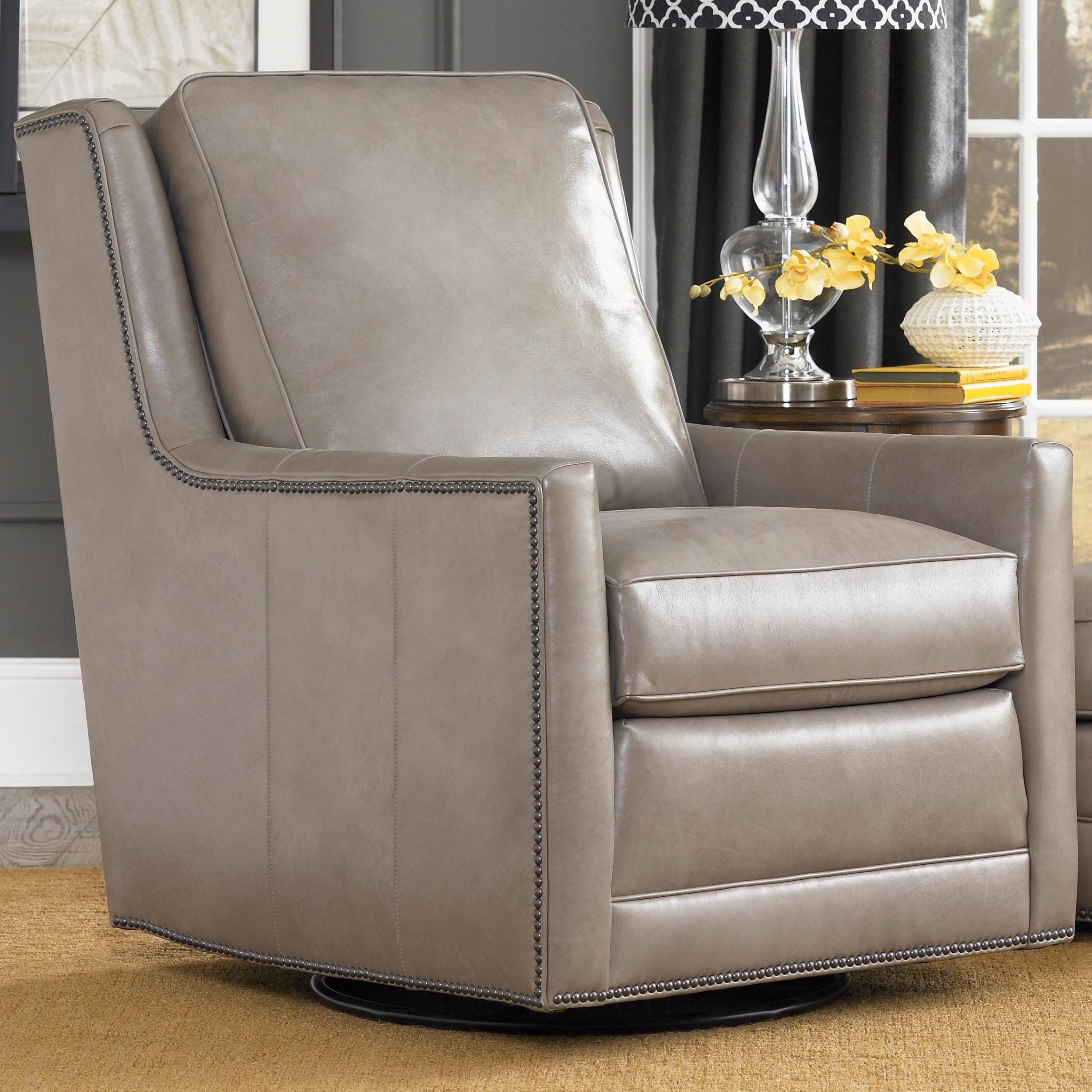 Transitional Swivel Chair With Nailhead Trim