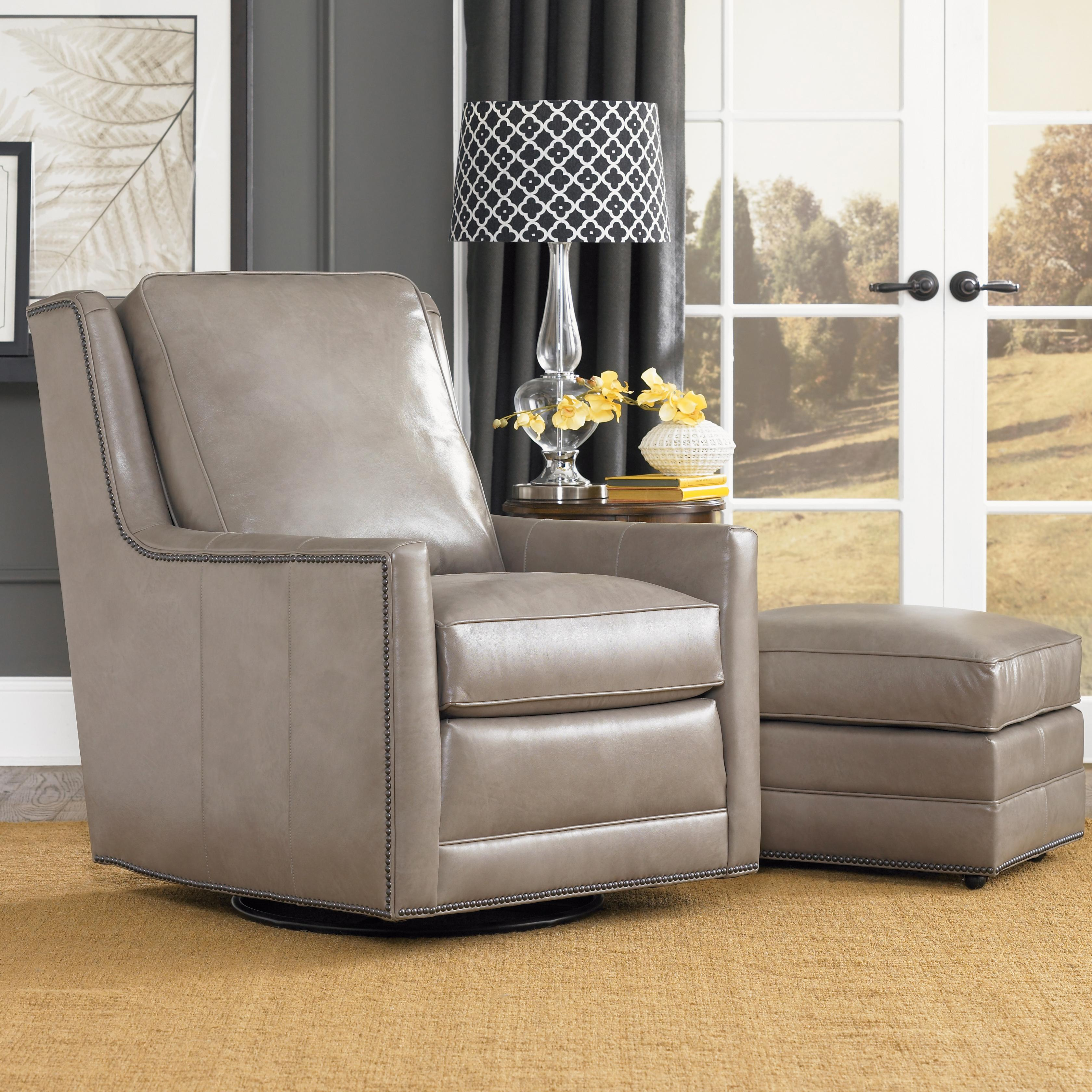 Transitional Swivel Chair With Nailhead Trim By Smith