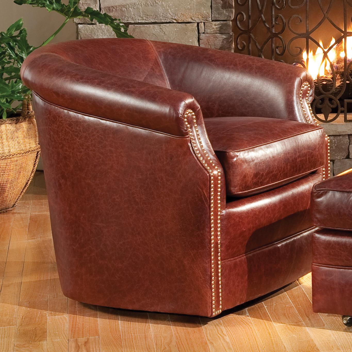 Barrel Swivel Chair With Rolled Arms By Smith Brothers