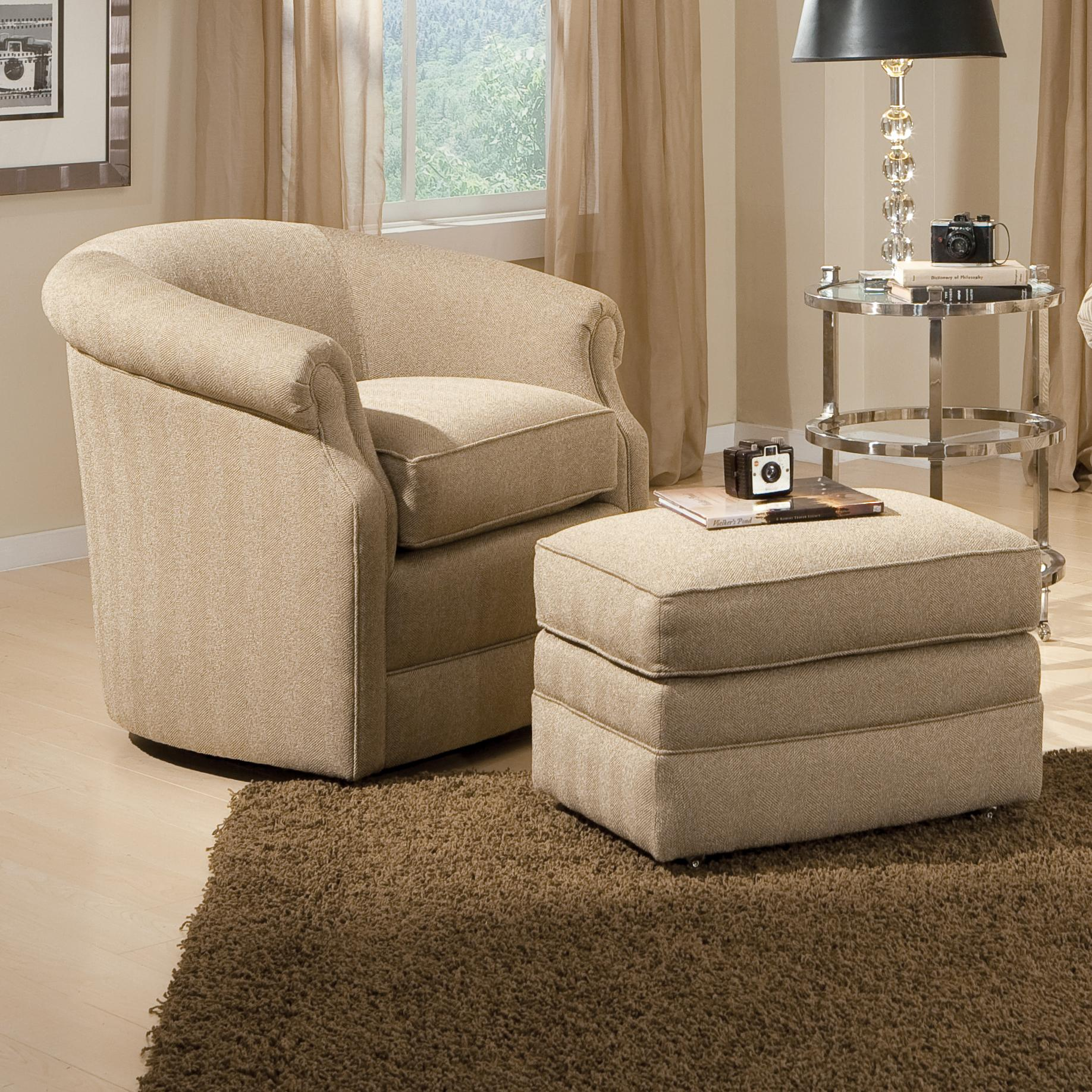 Barrel swivel chair and ottoman with casters by smith for Sitting room chairs