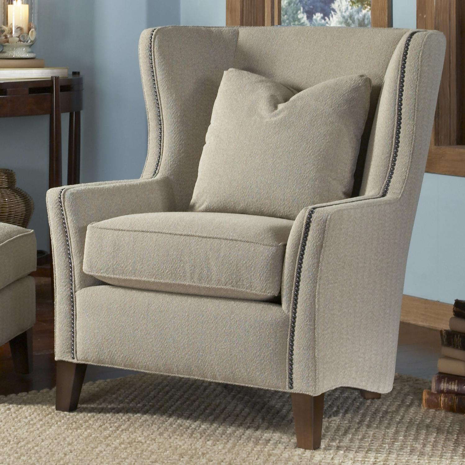 Wing chair with ottoman - Contemporary Wingback Chair With Track Arms