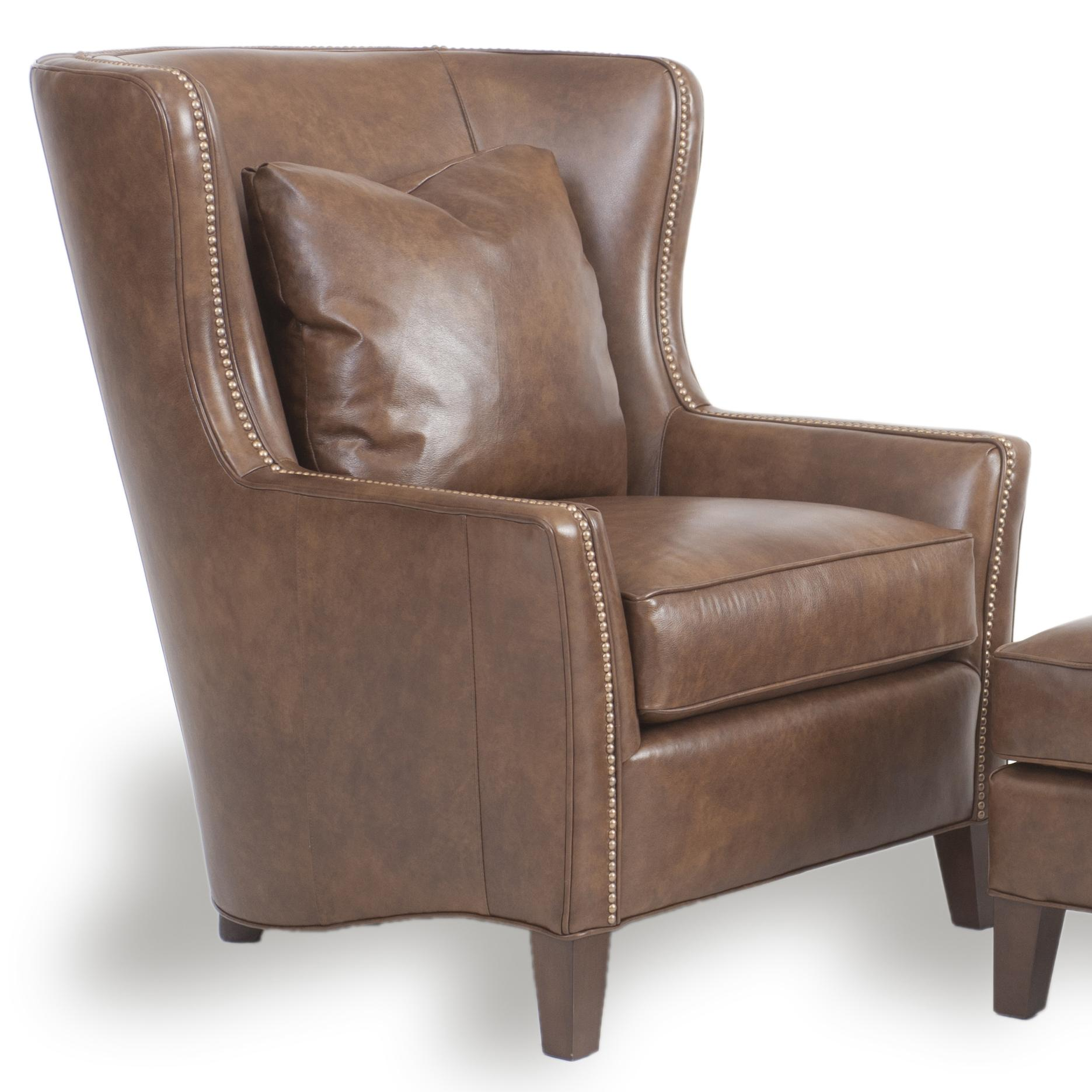 Contemporary Wingback Chair With Track Arms