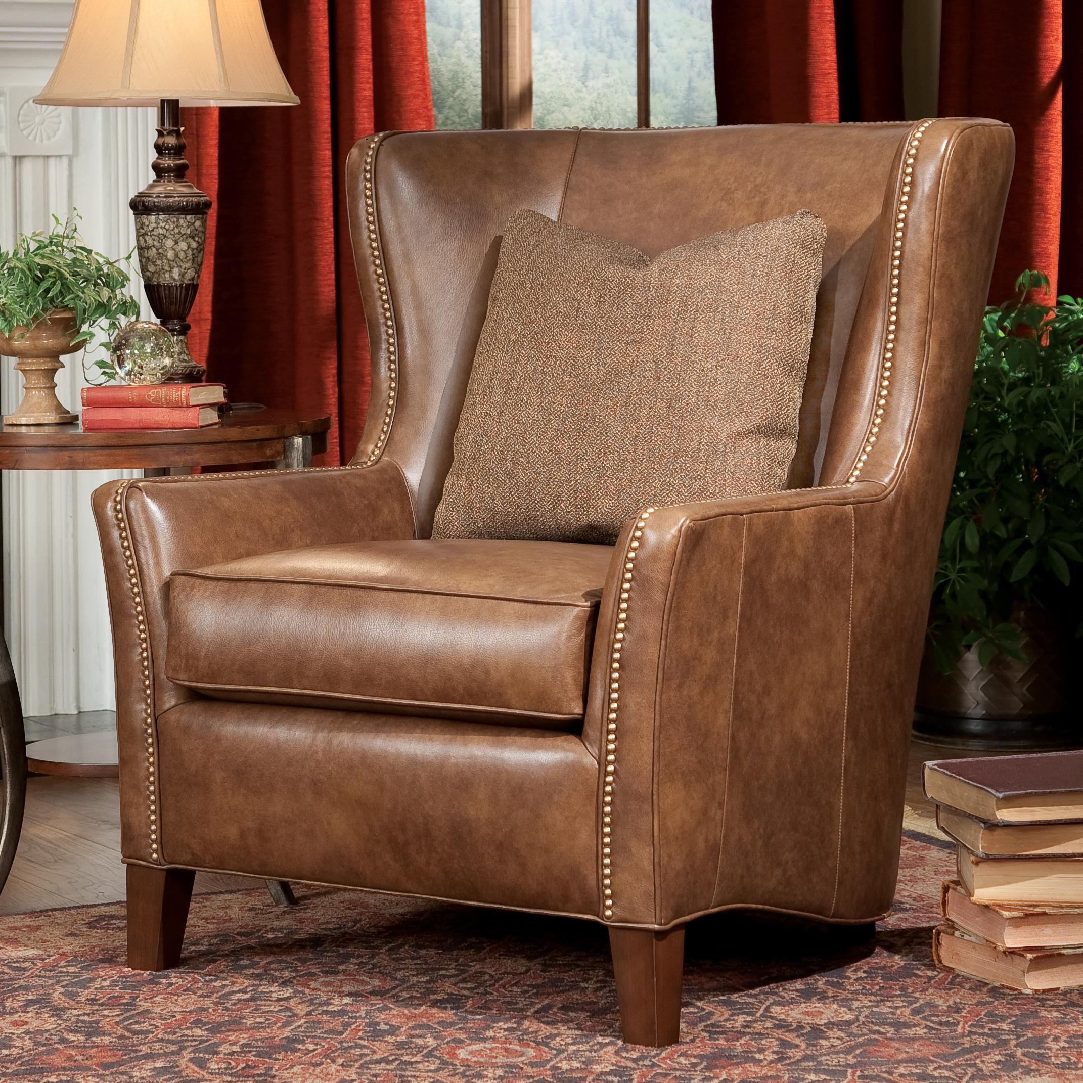 Upholstered wing chairs - Contemporary Wingback Chair With Track Arms