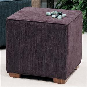 Square Ottoman with Block Wood Feet
