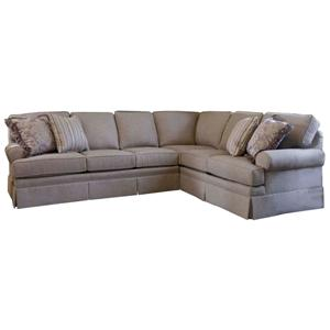 Sectional with Skirt and Rolled Arms