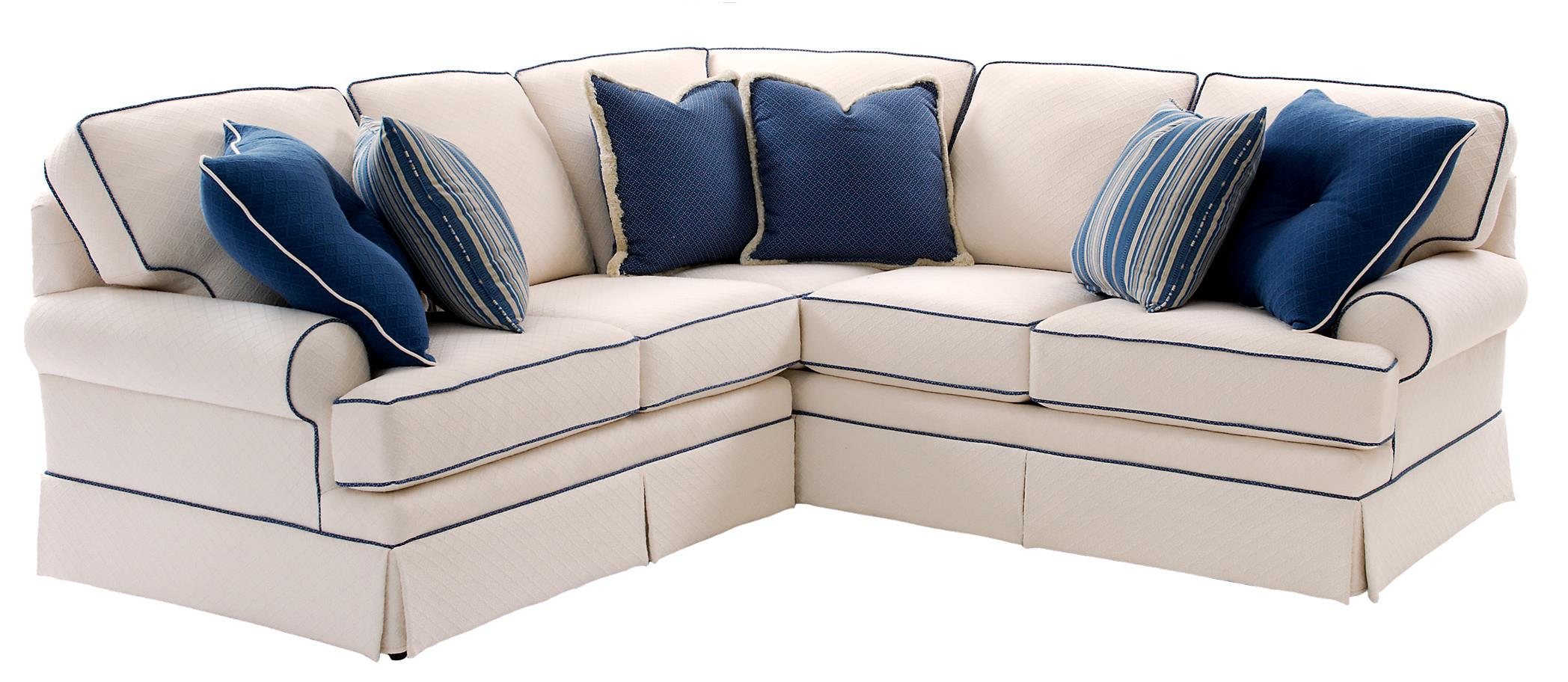 Ordinaire Sectional Sofa With Rolled Arms And Skirt