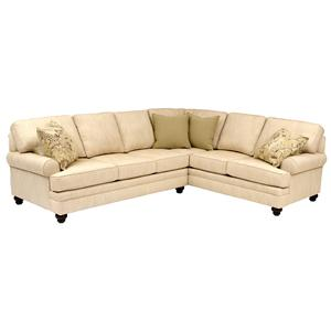 Sectional with Turned Legs & Sock Arms
