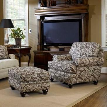 Upholstered Chair And Ottoman upholstered chair & ottoman with turned legssmith brothers