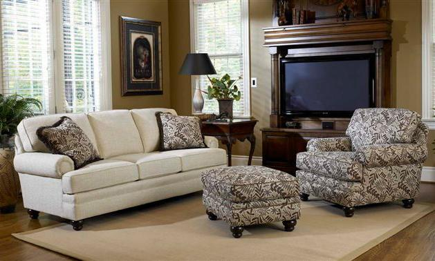 Upholstered Chair Ottoman With Turned Legs By Smith Brothers