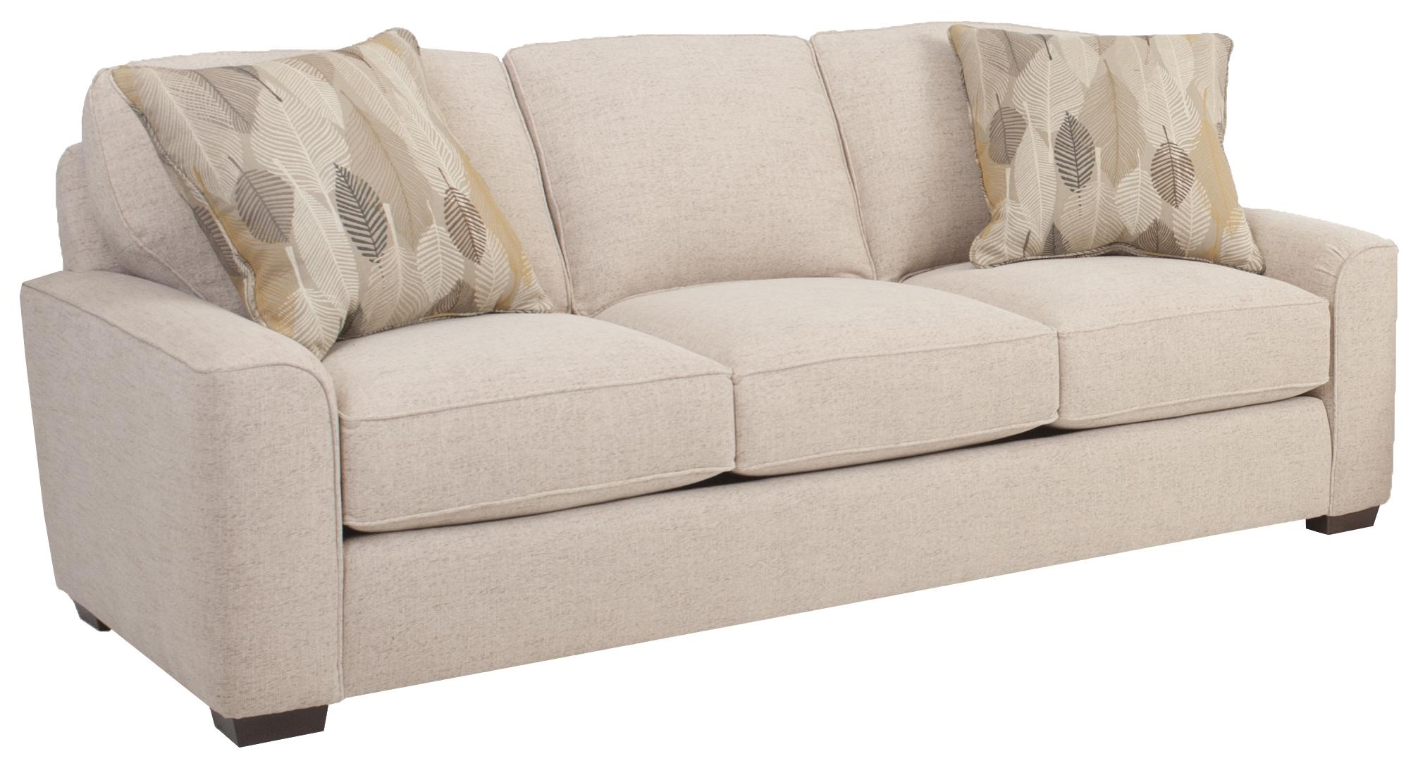 Mid Size Retro Styled Sofa with Deco Arms by Smith Brothers