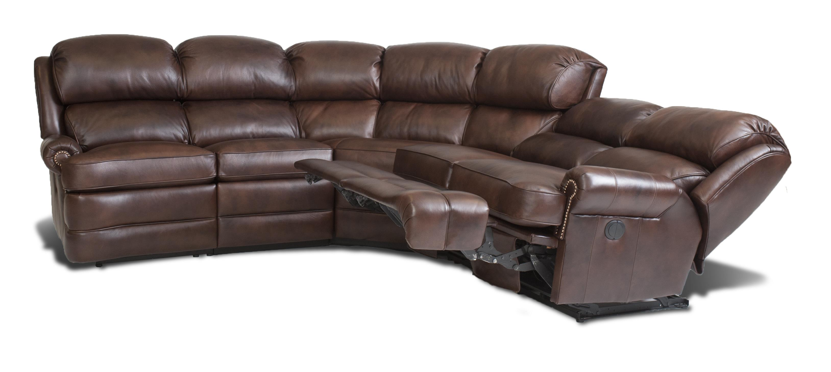 Transitional 5 Piece Reclining Sectional Sofa With Small Rolled Arms By Smith Brothers Wolf