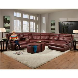 Southern Motion Dash  Reclining Sectional with Chaise and Console