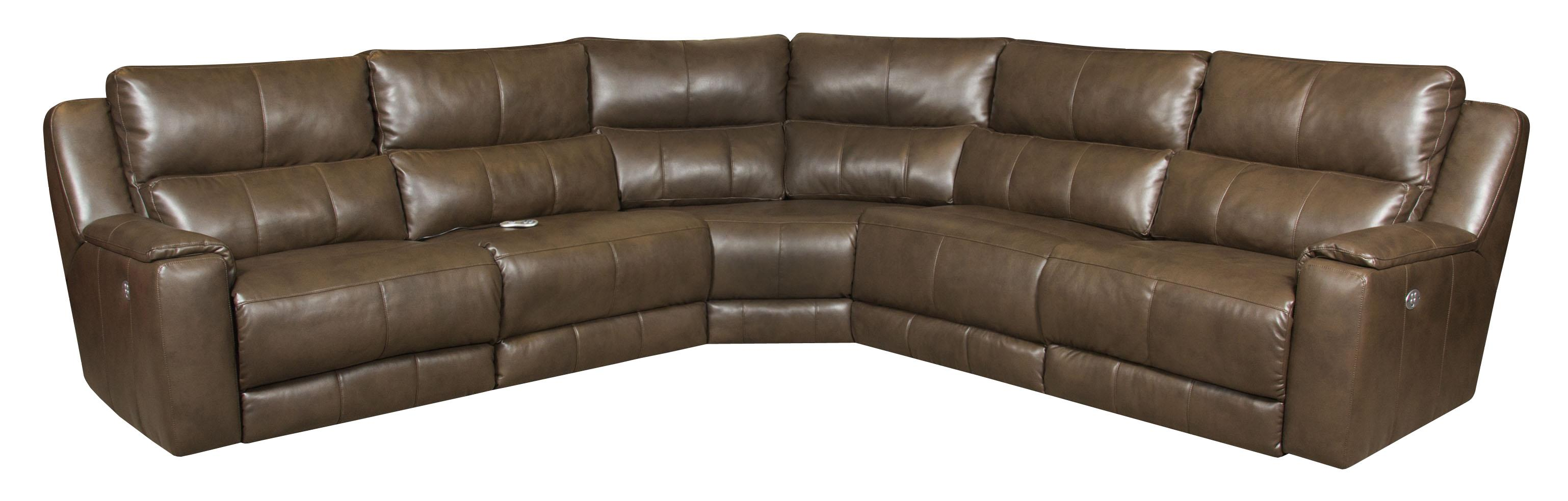 Reclining Sectional Sofa with 5 Seats and Power Headrests by