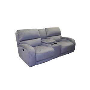 casual power console sofa with storage and cupholders