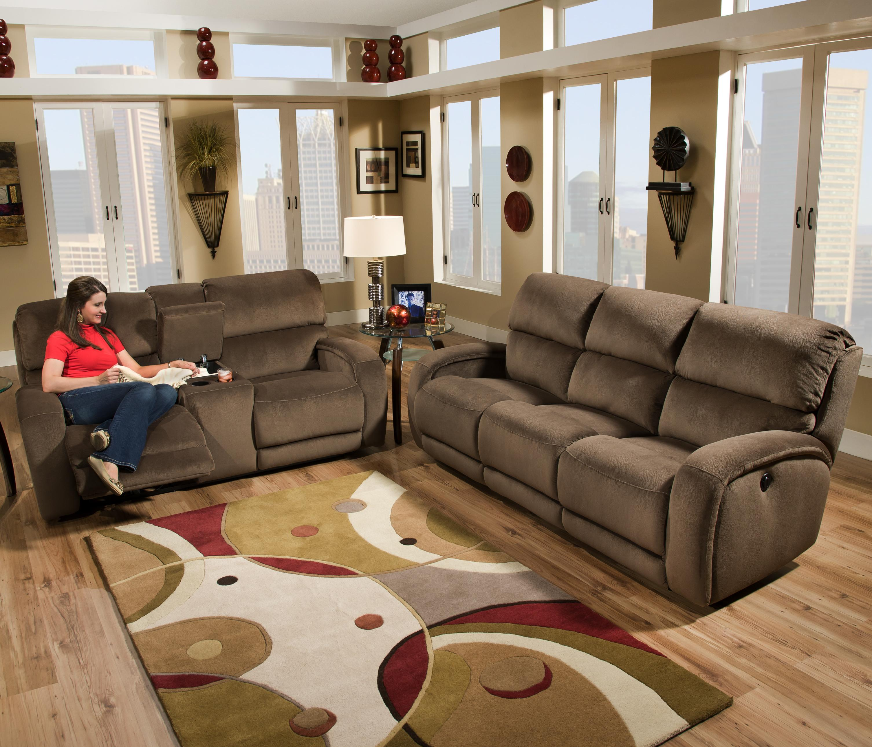 Casual Power Console Sofa with Storage and Cup Holders by Southern
