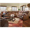 Southern Motion Jitterbug Reclining Console Sofa - Shown as part of sectional with wedge and double reclining sofa. Sofa Shown May Not Represent Exact Features Indicated.