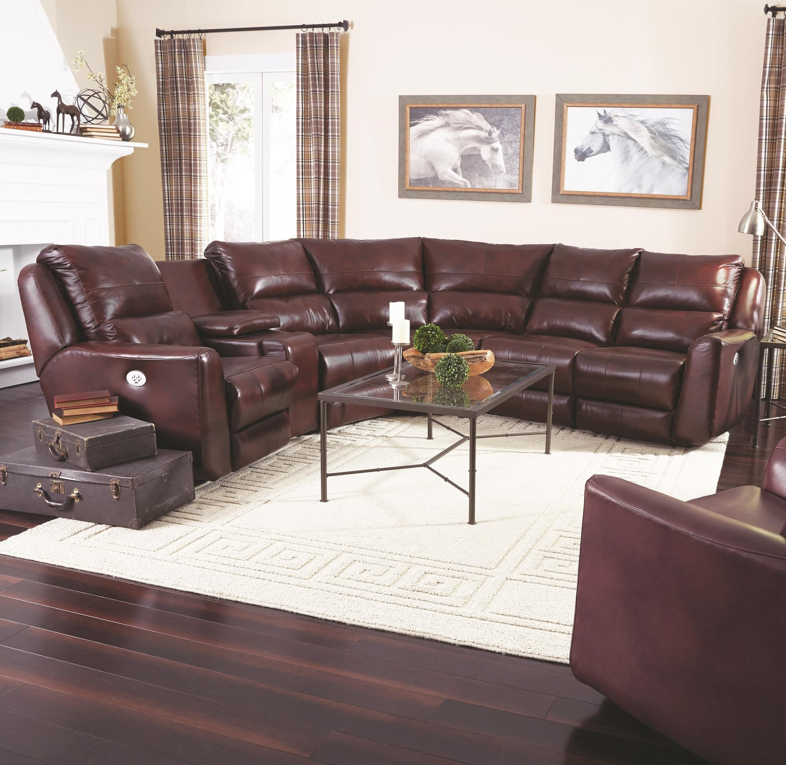 Reclining Sectional Sofa with 5 Seats no chaise by Southern