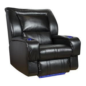 Faux Leather Lay-Flat Recliner with LED Lights & Cup-Holders